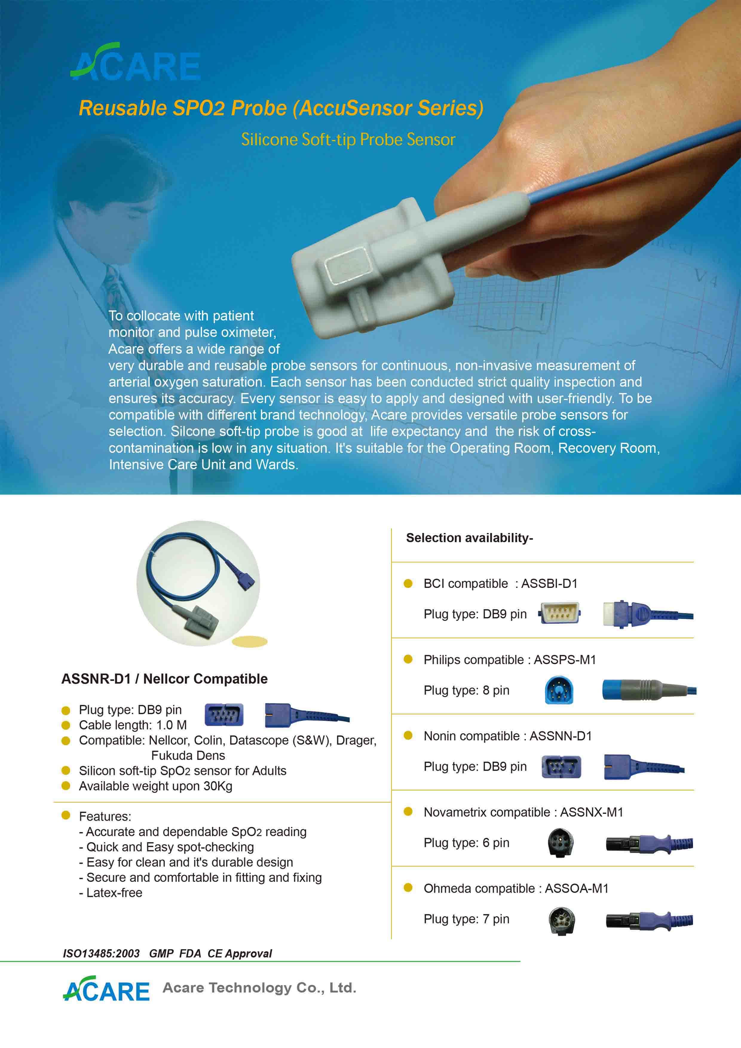 Soft-tip SpO2 Probe Sensor